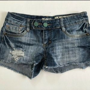 Indigo Rein Women's Blue Distressed Jean Shorts 3